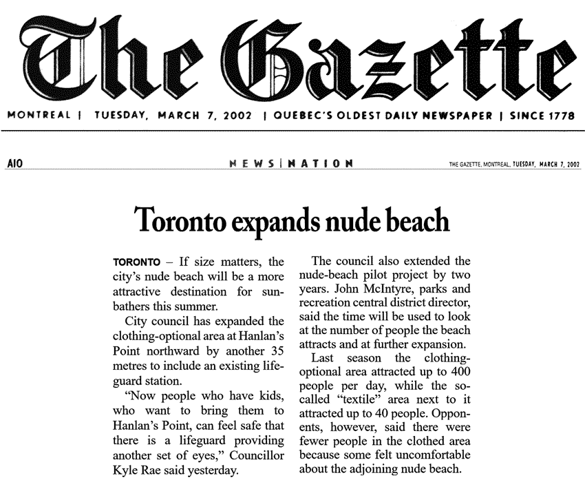 Montreal Gazette 2000-03-07 - Hanlan's Point CO-zone extended